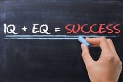 Emotional quotient EQ plus intelligence quotient IQ - Success formula Stock Image
