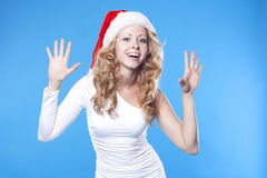 Emotional Santa girl Stock Image