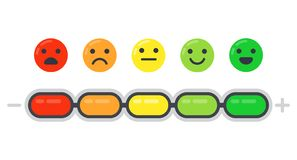 Emotional scale. Mood indicator, customer satisfaction survey and colored emotions emoji isolated flat vector