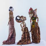 Emotional scene of Javanese traditional Puppet in traditional dr. Traditional indonesian javanese puppet doll, performance scene stock images