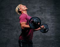 Athletic blond male doing a biceps workout with a barbell. Emotional, screaming, athletic, blond male doing a biceps workout with a barbell Royalty Free Stock Photo