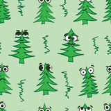 Emotional seamless fir-trees. Seamless texture with emotional big-eyed green Christmas fir-trees Stock Images