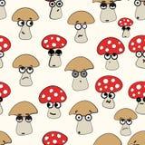 Emotional seamless mushrooms Stock Image