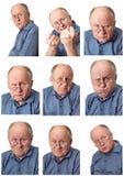 Emotional senior male set #2. Set #2 of emotional senior male portraits isolated Royalty Free Stock Photo
