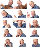 Emotional senior male set Royalty Free Stock Image