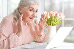 Emotional senior woman with laptop Royalty Free Stock Photo