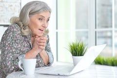 Emotional senior woman with laptop Royalty Free Stock Image