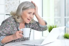 Emotional senior woman with laptop Stock Photography