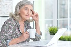 Emotional senior woman with laptop Stock Images