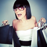 Emotional shopping girl Royalty Free Stock Images