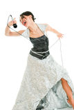 Emotional singer. Emotional woman with microphone royalty free stock image