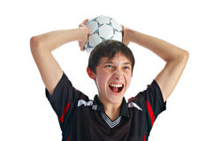 Emotional soccer player Royalty Free Stock Photography