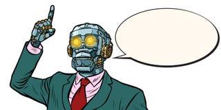 Emotional speaker robot, dictatorship of gadgets. isolate on whi. Te background. Pop art retro vector illustration royalty free illustration