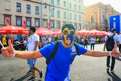 Emotional sport supporter of Sweden national football team in 2018 FIFA World Cup. stock images