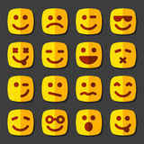 Emotional square yellow faces icon set Royalty Free Stock Images