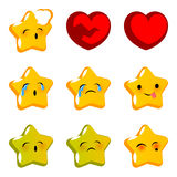 Emotional stare sick cry emoji faces set. Emotional star faces smiles cry sick set. Vector illustration smile icon. Face emoji yellow icon. Smile cute funny Royalty Free Stock Image