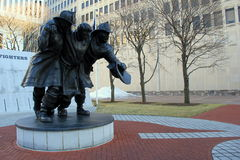 Emotional statue depicting fire fighters,9-11,Albany New York,2016 Royalty Free Stock Photography
