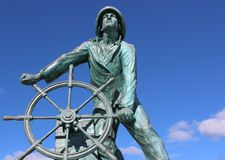 Emotional statue of Fisherman standing at the helm of ship, honoring sailors lost at sea, Fishermen`s Memorial, Gloucester,2018s, stock images