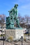 Emotional statue of Fisherman standing at the helm of ship, honoring sailors lost at sea, Fishermen`s Memorial, Gloucester,2018s, stock photography