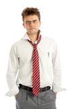 Emotional stress. Depressed man on white background Stock Photos