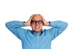 Emotional stress. Man with emotional stress isolated on white Stock Photo