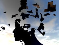 Emotional stress and headache concept with shattered face silhouette. Royalty Free Stock Photo