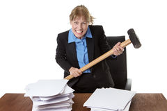 Emotional Stress, Paperwork, Frustration. Royalty Free Stock Photo