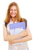 Emotional student with books Royalty Free Stock Photography