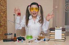 The chemist. The pharmacist. Chemistry lesson. stock photos