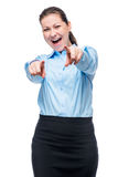 Emotional successful woman in formal business clothes on white Royalty Free Stock Images