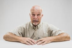 Emotional tearful elderly man blubbering Stock Image