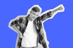 Emotional teenage boy on white background royalty free stock photo