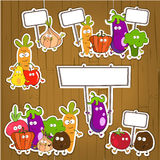 Emotional vegetables. Cartoon vegetables, funny vector characters with different emotions Royalty Free Stock Photo