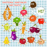 EMOTIONAL VEGETABLES AND FRUITS Royalty Free Stock Images