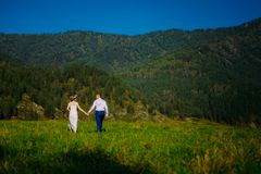 Emotional wedding shot of the happy glamour newlywed couple walking on meadow in wild nature. Beautiful nature view stock images
