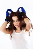 Emotional woman boxer. Stock Images