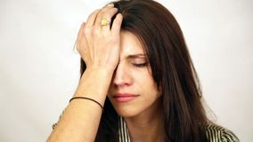 Emotional woman crying. With tears stock footage