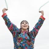 Emotional woman dance - dancer Koryak Folk Dance Ensemble Angt. Kamchatka, Russia Royalty Free Stock Images