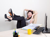 Emotional woman in the office Royalty Free Stock Photography