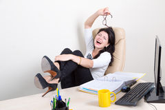 Emotional woman in the office Stock Image
