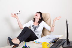 Emotional woman in the office Royalty Free Stock Photo