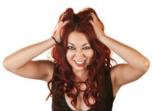 Emotional Woman Pulling Her Hair Royalty Free Stock Photo