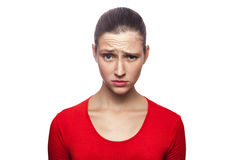 Emotional woman with red t-shirt and freckles. Stock Image