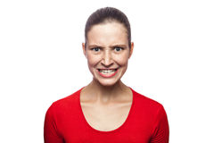 Emotional woman with red t-shirt and freckles. Royalty Free Stock Photos