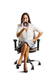 Emotional woman sitting on the office chair Stock Image