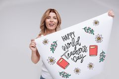 Emotional woman smiling while celebrating Teachers day stock photos