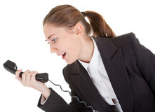 Emotional woman with a telephone Royalty Free Stock Photography