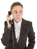 Emotional woman with a telephone Stock Photos
