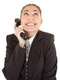 Emotional woman with a telephone Royalty Free Stock Photos