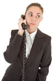 Emotional woman with a telephone Stock Photography